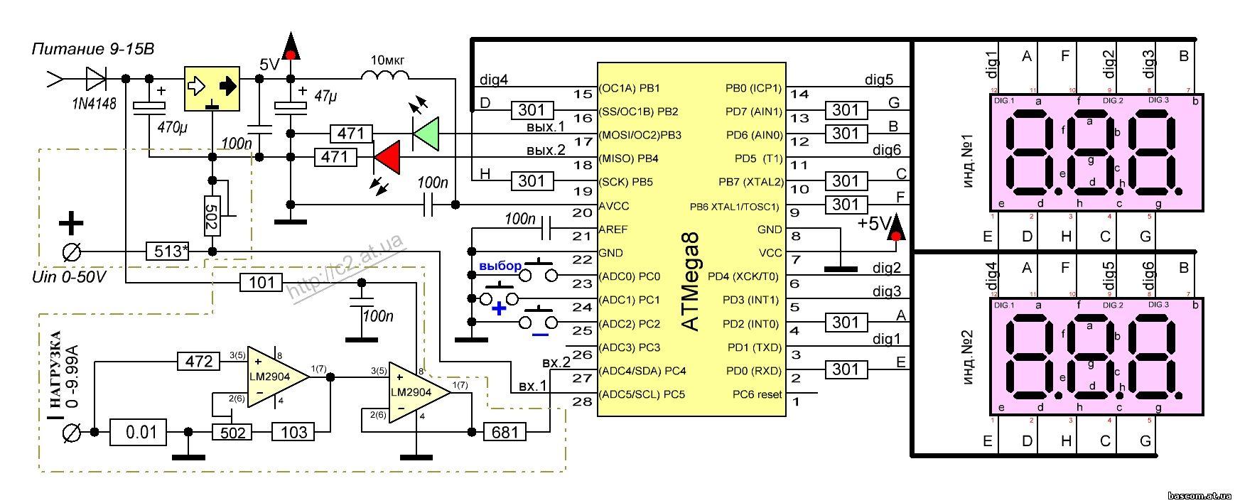 Схемы на микроконтроллерах и светодиодных индикаторах.